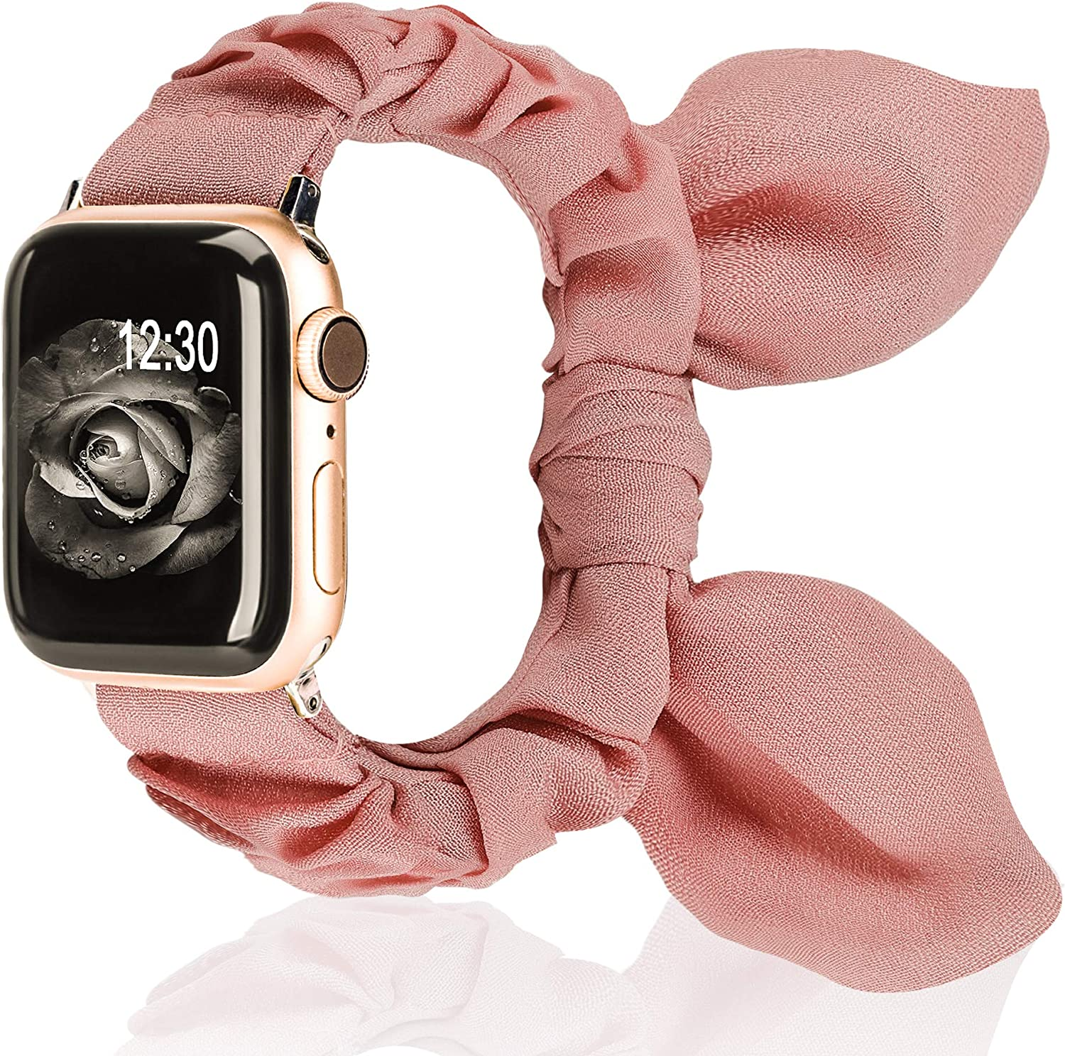 TOYOUTHS Compatible with Apple Watch Band Scrunchies 38/40mm with Butterfly Bow/Bunny Ears Cloth Fabric Elastic Scrunchy Wristband Bracelet Rose Gold Women Girl iWatch Series SE 6 5 4 3 2 1