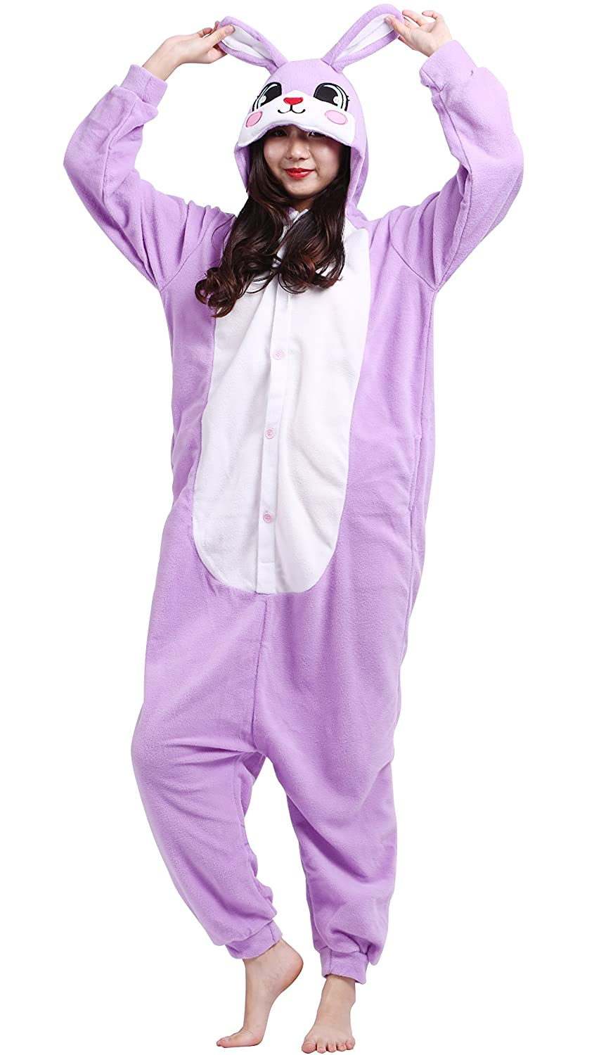 Amazon.com: Taigood Unisex Adult Animal Pajamas Plush One Piece Cosplay Purple Rabbit (140-187cm): Clothing