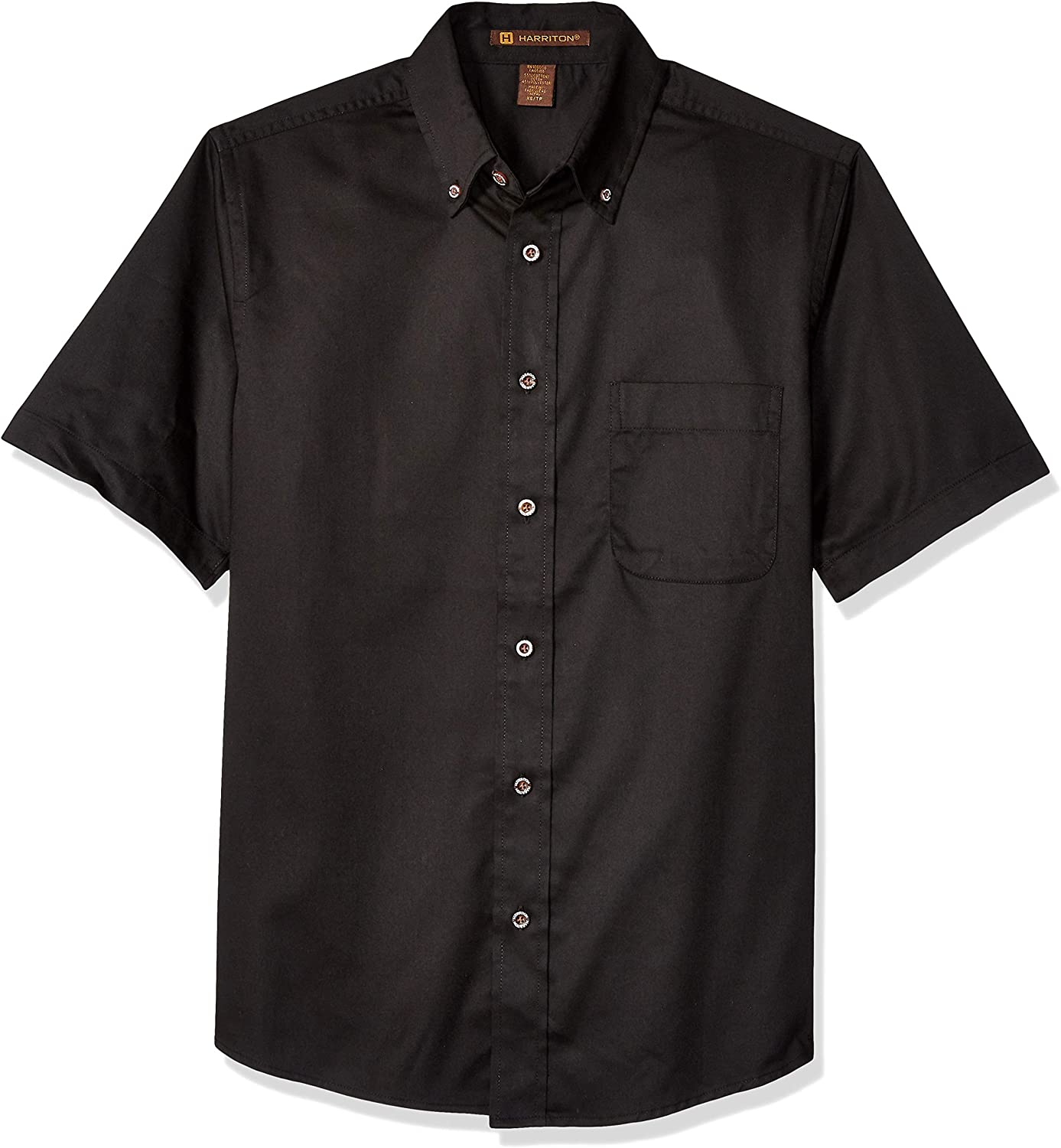 Harritton Men's Twill with Stain Release Short Sleeve Dress Shirt, Black, X