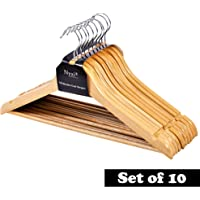 Nyxi Pack of 10 Grade A, Clothes Hangers Natural Wooden Wood Clothes Coat Hangers with Round Trouser Bar and Shoulder Notches Strong Premium Heavy Duty
