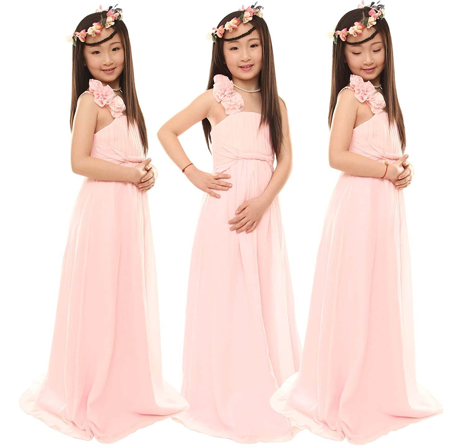 Nectarean A-line One Shoulder with Flowers Chiffon Junior Bridesmaid ...