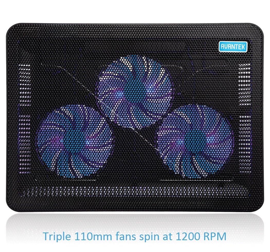 AVANTEK 17 Zoll Notebook Kühler Kühlmatte mit Dreifach 110mm Lüfter