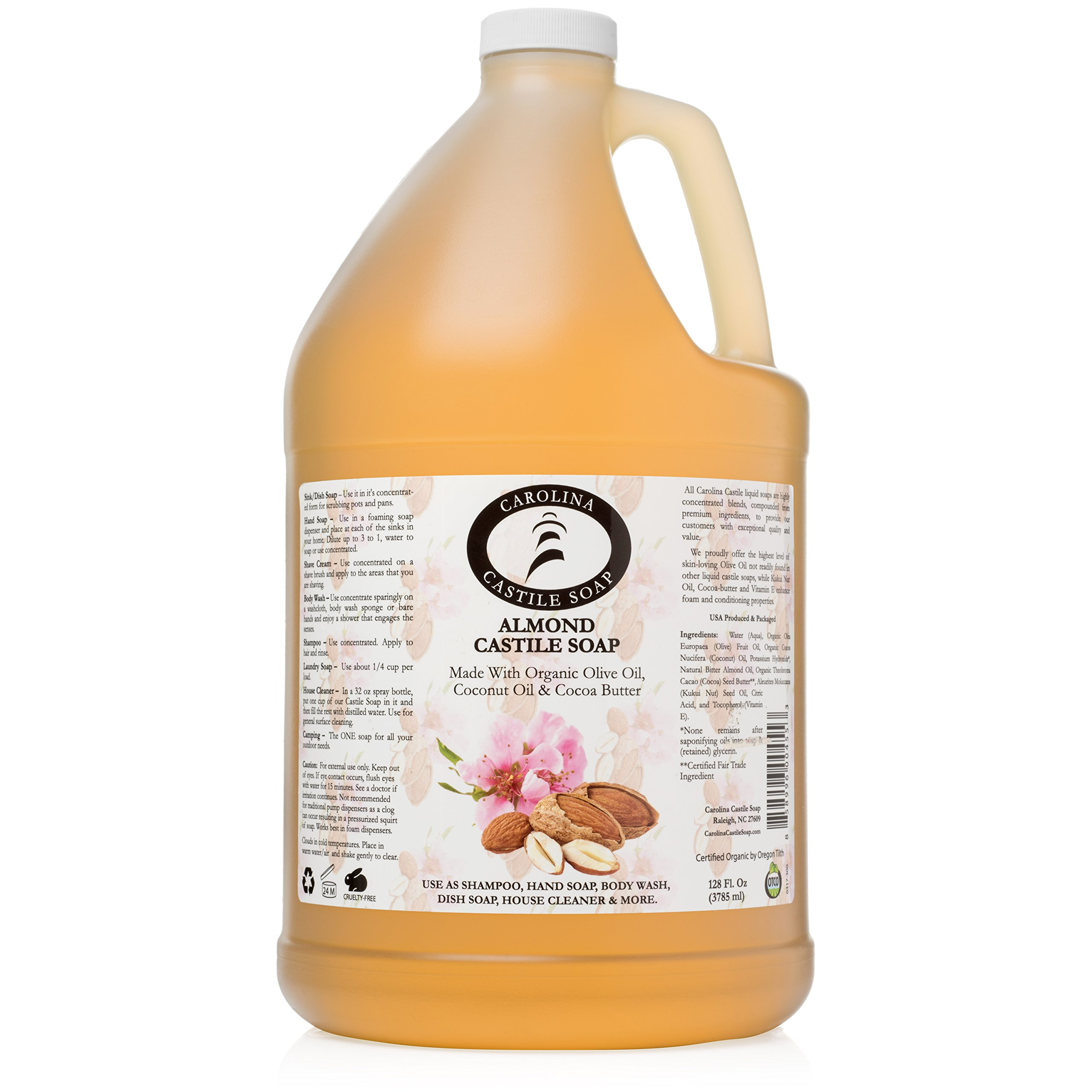 Carolina Castile Soap Almond w/Organic Cocoa Butter (1 Gallon)