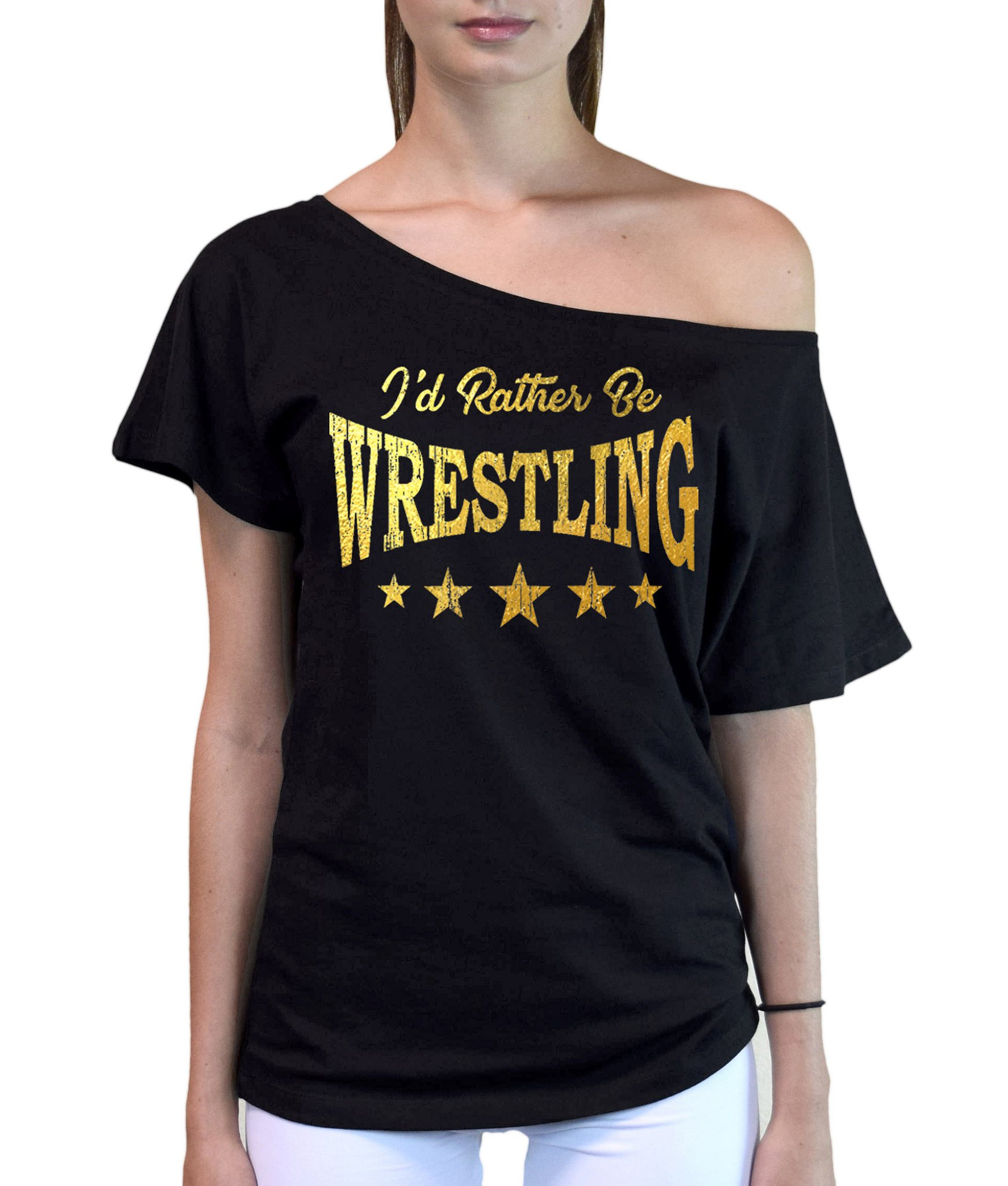 Interstate Apparel Inc Junior's Gold Foil I'd Rather Be Wrestling Black Off-Shoulder T-Shirt Small Black by Interstate Apparel Inc