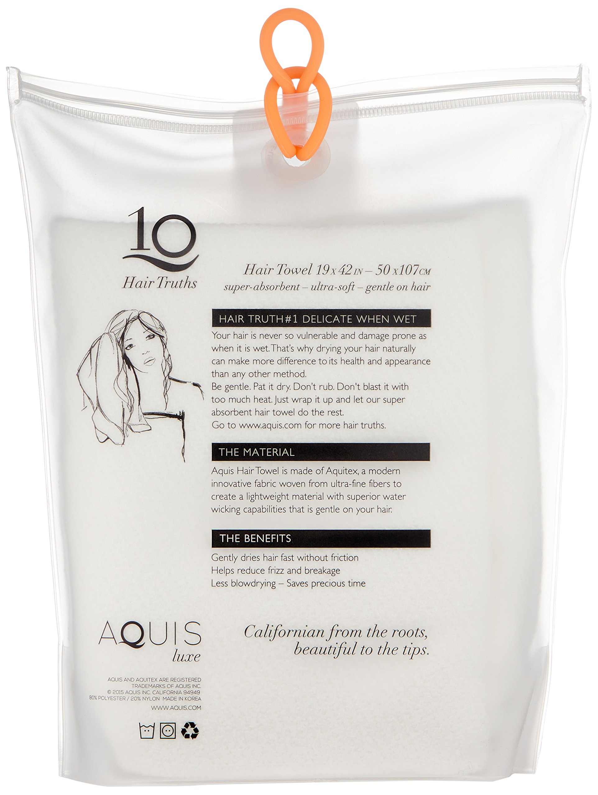 Aquis Lisse Luxe Hair Towel, White, 7 oz. by AQUIS (Image #2)