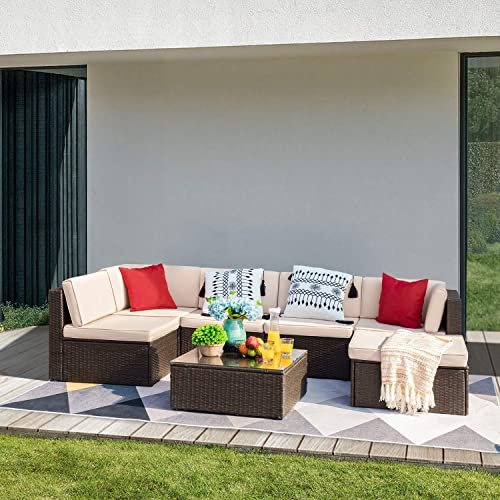 Devoko 7 Pieces Patio Furniture Sets All-Weather Outdoor Sectional Sofa Manual Weaving Wicker Rattan Patio Conversation Set