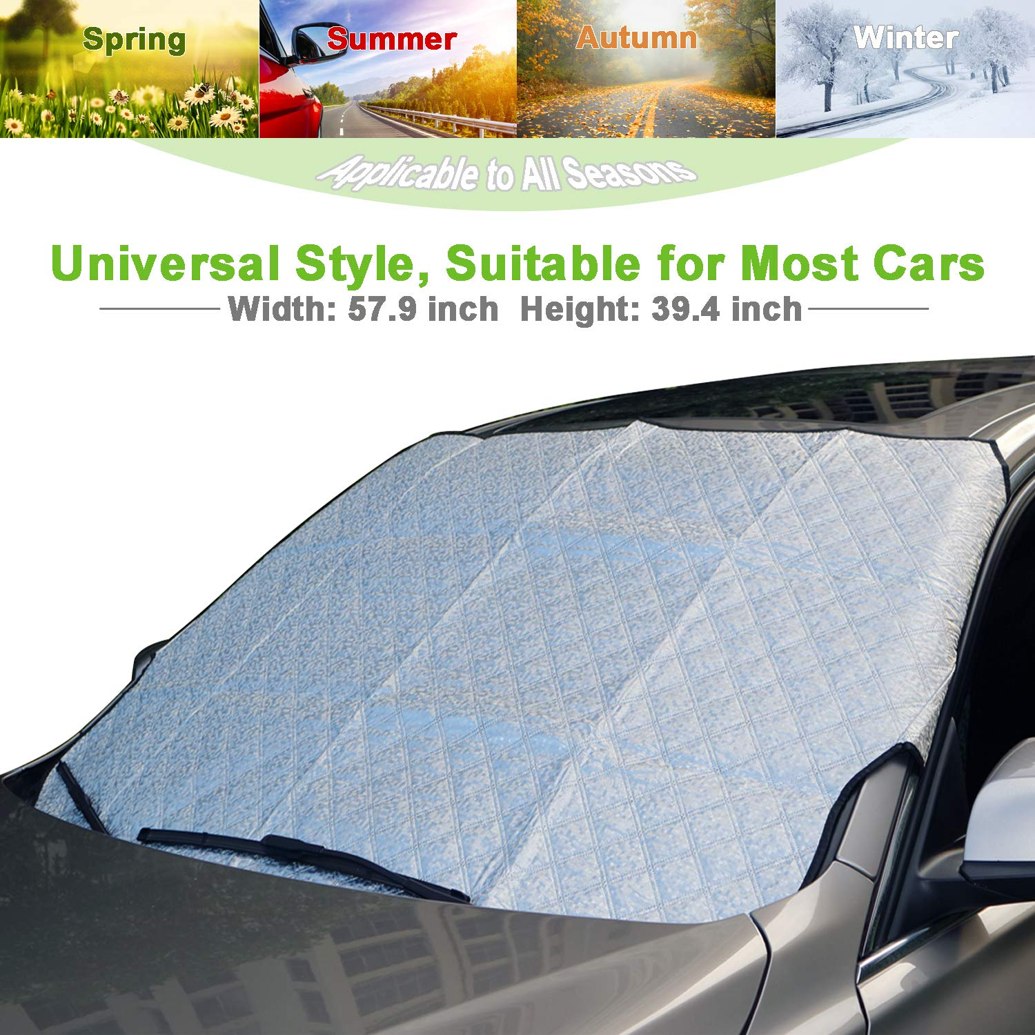 AMEIQ Car Windshield Snow Cover, Sun Shade, Front Window Sunshade, All Seasons Windscreen Protector, Best for Most Car Auto Vehicle SUV (THICK) CS