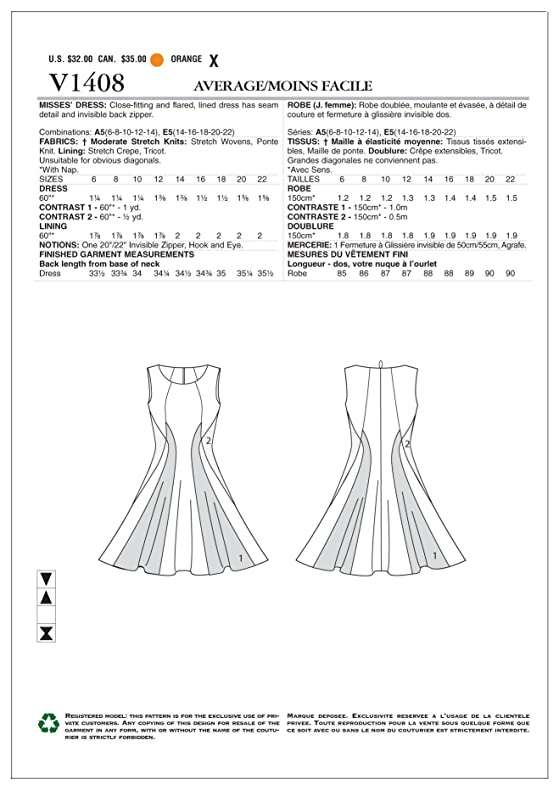 Amazon.com: Vogue Patterns V1408 Misses\' Dress Sewing Template, Size ...