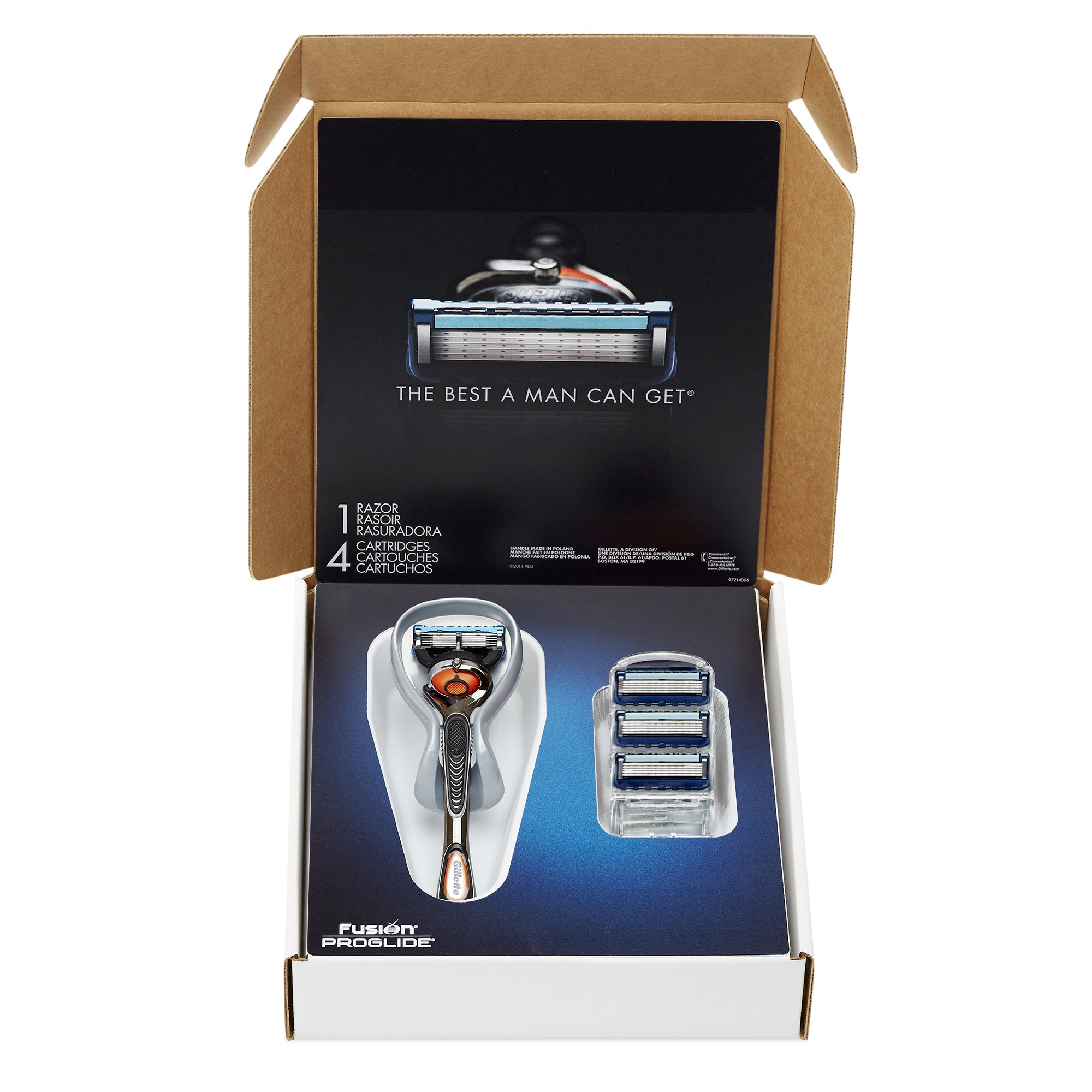 Gillette Fusion ProGlide Bundle with 1 ProGlide Razor Handle with FlexBall Technology + 4 ProGlide Razor Blade Refills, Mens Razors / Blades