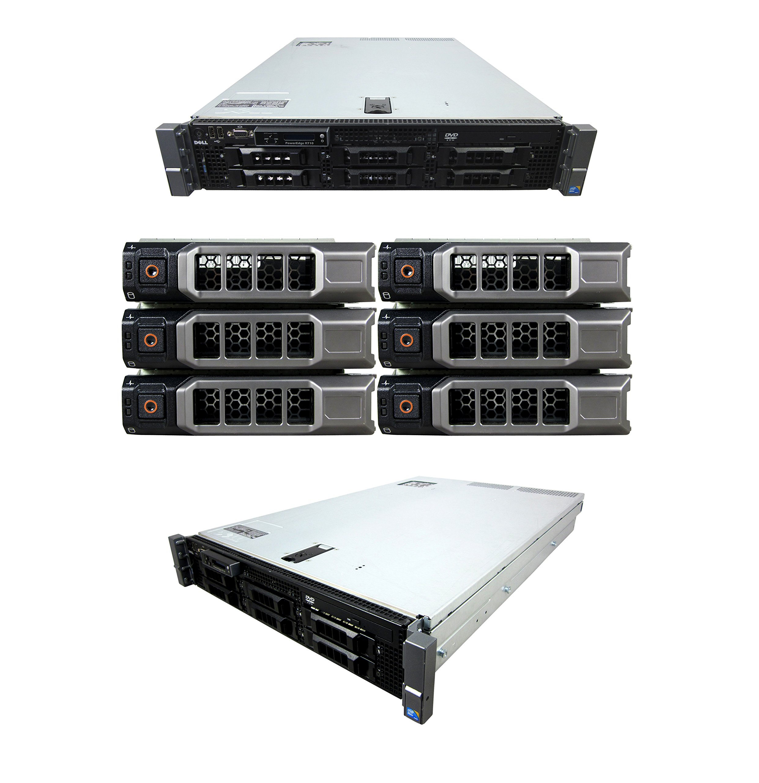Lot of 3 High-End Virtualization Server 12-Core 128GB RAM 12TB RAID Dell PowerEdge R710 Rails+Bezel (Certified Refurbished)