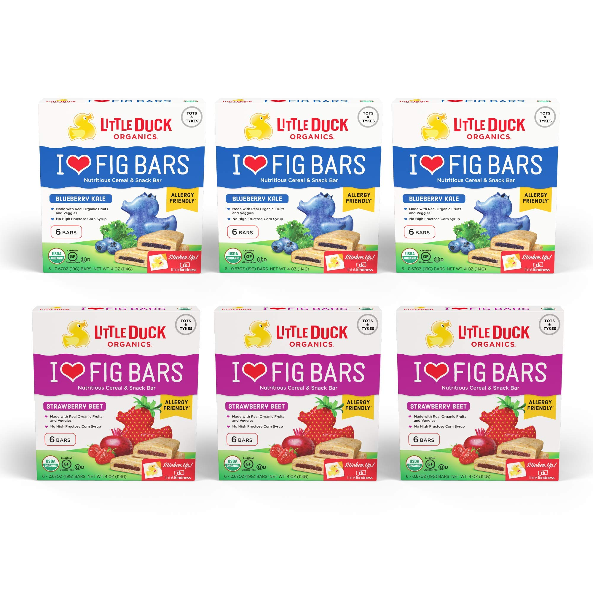 Little Duck Organics I Love Fig Bars, Nutritious Cereal & Snack Bar, Variety Pack (3 Blueberry, 3 Strawberry), 6 Boxes