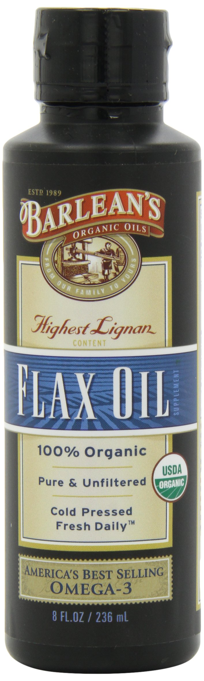 Barlean's Organic Oils High Lignan Flax Oil, 8-Ounce Bottles (Pack of 2)