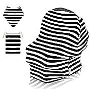Pupiki Nursing Breastfeeding Cover: Soft, Cute, Stretchy Baby Breastfeeding Scarf w/Carry Bag + Bandana Drool Bib| Top Multipurpose Infant Canopy/Baby Car Seat Cover/Stroller/Car Seat Canopy
