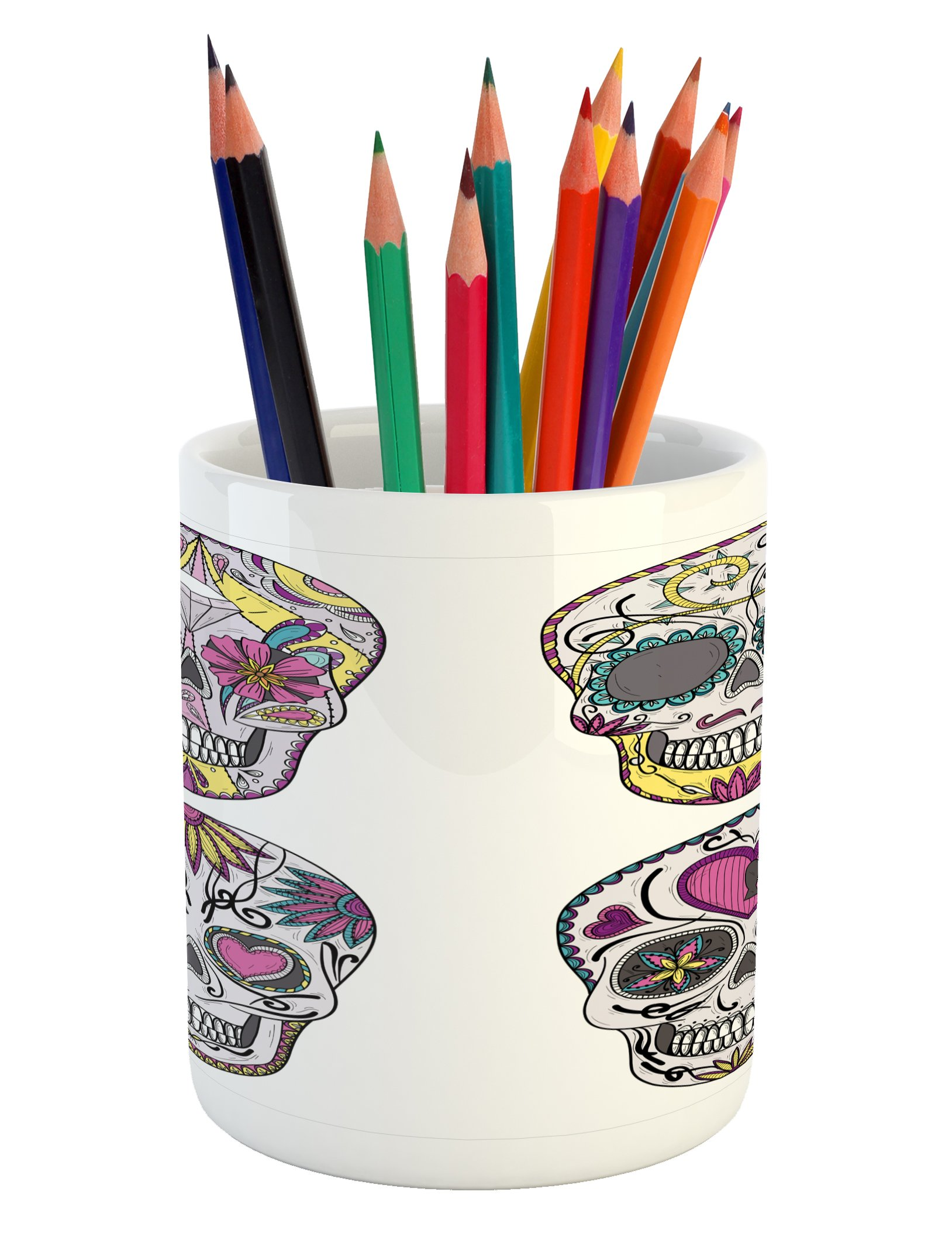 Ambesonne Skull Pencil Pen Holder, Colorful Ornate Mexican Sugar Skull Set with Flower and Heart Pattern Calavera Humor, Printed Ceramic Pencil Pen Holder for Desk Office Accessory, Multicolor