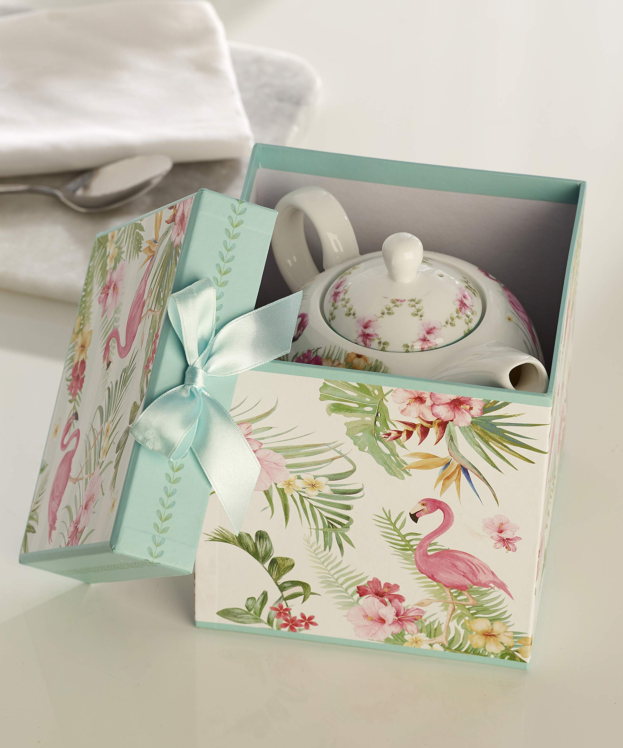 Giftcraft Bone China Tea Set for One in Gift Box, Flamingo Design