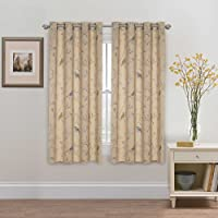 Blackout Curtains for Living Room Thermal Insulated Room Darkening Bedroom Curtains for Kids - Geo Pattern Print Eyelet Window Treatment Panels Pair