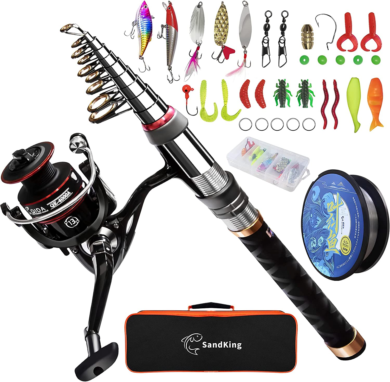 Fishing Rod Reel Combo Carbon Fiber Telescopic Fishing Pole Spinning Reels V8J6