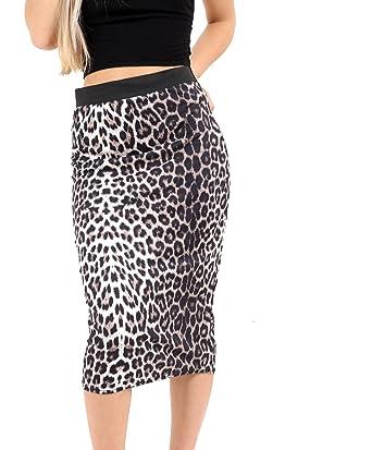 5f965987b46f bliss Womens Ladies Leopard Print Midi Pencil Skirt Elasticated Waistband  Stretch Bodycon Animal Print Skirt (