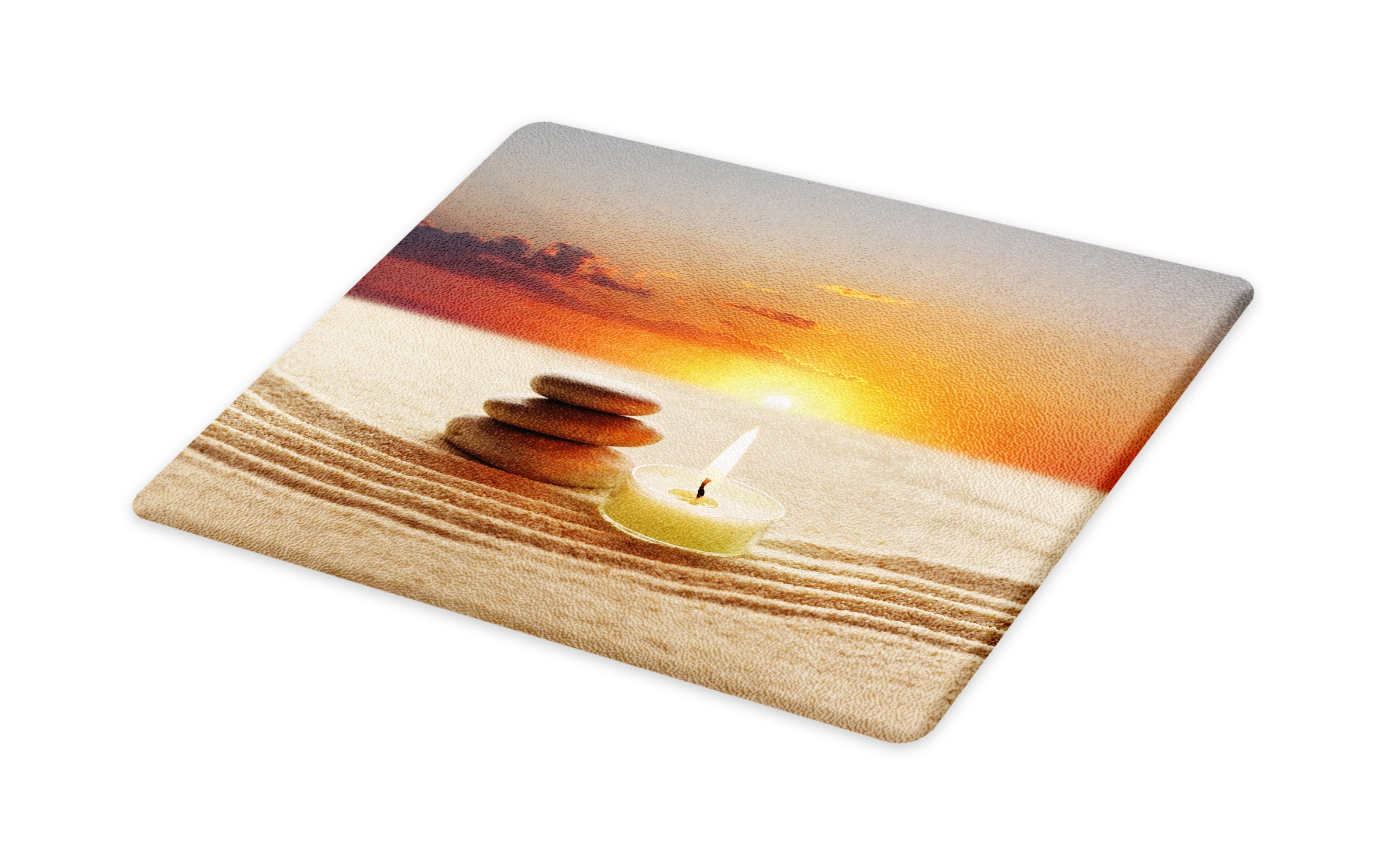Lunarable Spa Cutting Board, Little Candle with Three Stones Middle of Sand with Sunset Serene Landscape, Decorative Tempered Glass Cutting and Serving Board, Large Size, White Brown and Orange