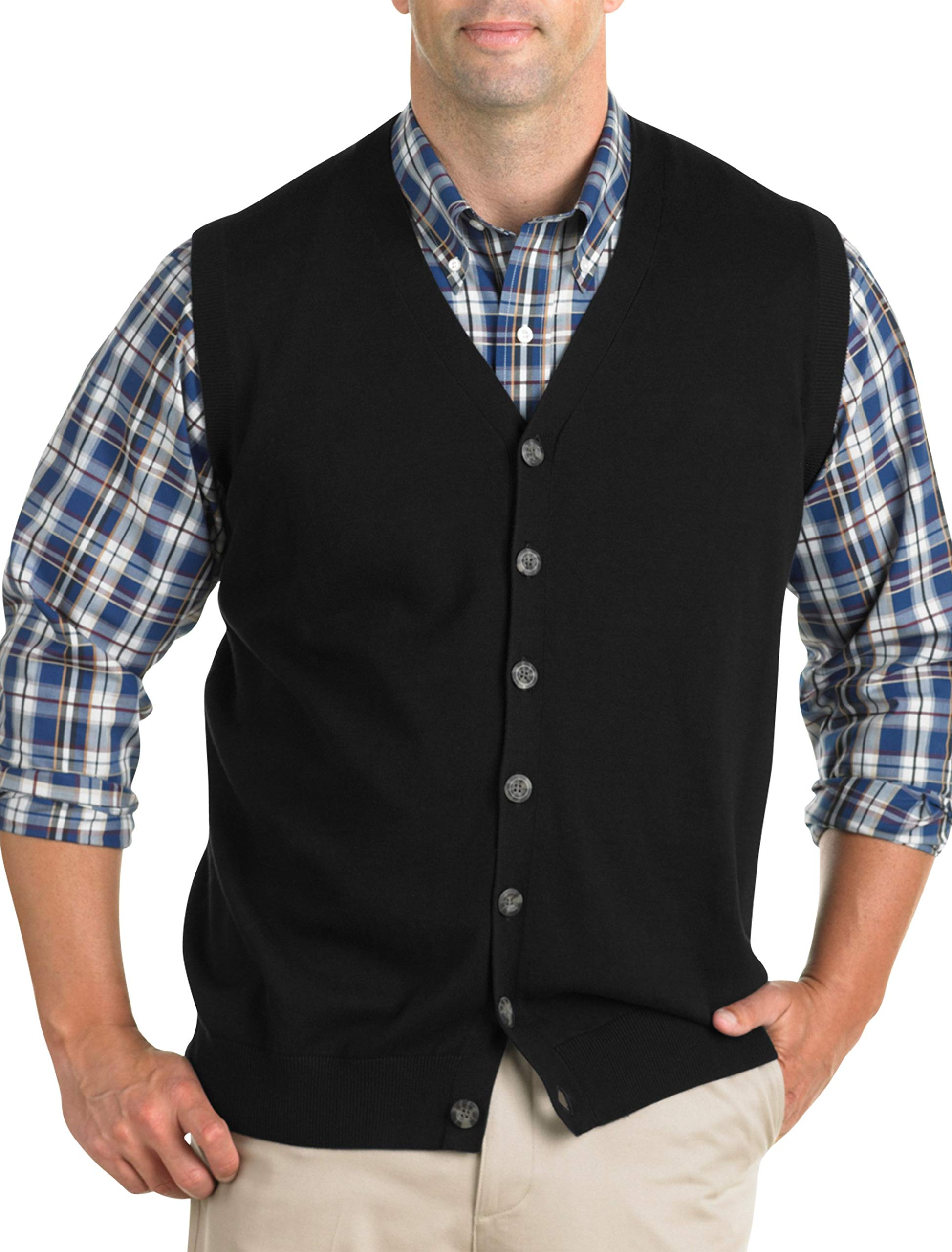 Oak Hill by DXL Big and Tall Button-Front Sweater Vest, Black 3XL