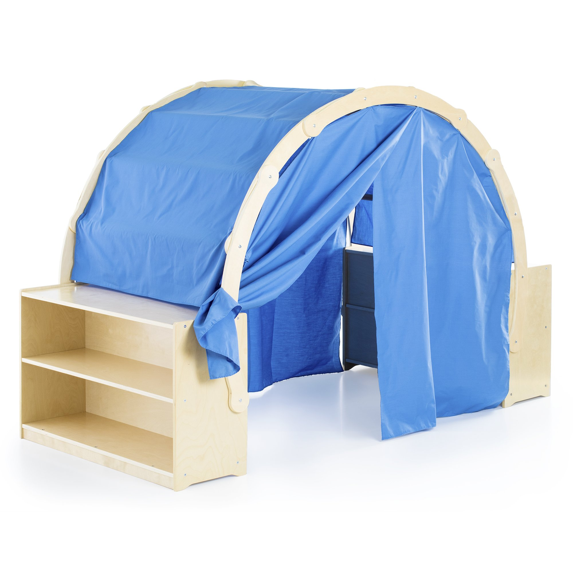 Guidecraft Playhouse Hideaway Bookshelves - Kids' Classroom Reading Tent with Blue Curtains, Dramatic Play, Storage - School Supply Kids Furniture