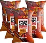 Barnana Organic Plantain Chips - Brazilian BBQ - 5 Ounce, 5 Pack Plantains - Barnana Salty, Crunchy, Thick Sliced Snack - Bes