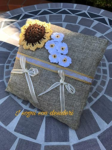 Hochzeit Ringkissen Kissen Mit Jute Mit Sonnenblumen Und Häkeln