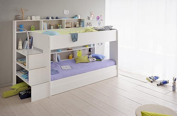 Etagenbett Doppelt : Kinder etagenbett weiß grau mit bettkasten treppe und