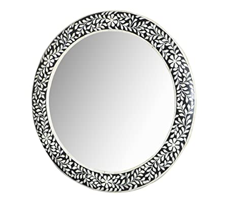 Amazon Com Bone Inlay Round Mirror Frame Black Handmade Inlay
