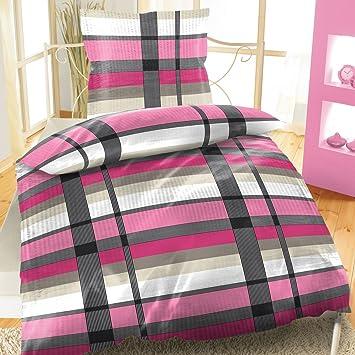 Baumwoll Bettwäsche Seersucker 135x200 4 Teiliges Set Pink Streifen