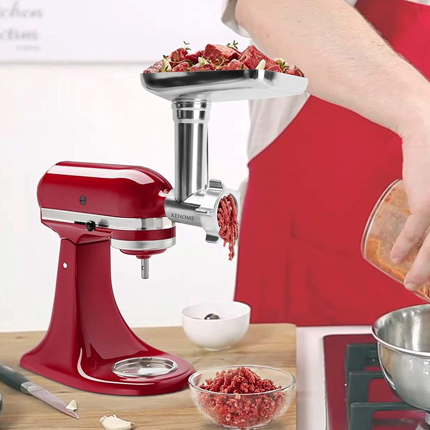 Metal Food Grinder Attachment for KitchenAid Stand Mixers Includes 2 Sausage Stuffer TubesDurable
