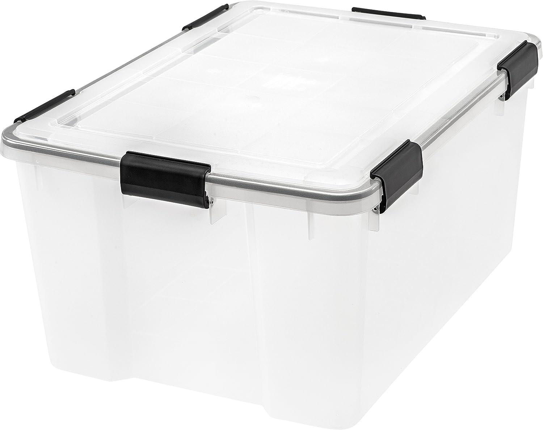 Iris Weathertight Storage Box 62 Quart Clear Lidded Home Storage Bins