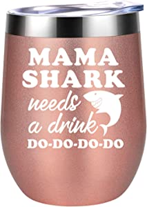 Gifts for Mom from Daughter, Son - Mama Shark Needs a Drink - Wife, Mom Gifts - Funny Birthday Gifts for Wife, Any Mom, New Mom, Mom to be, Pregnant Mom - Coolife Mommy Shark Wine Tumbler Mom Mug Cup