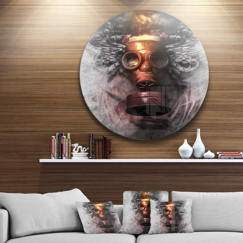 Amazon Com Designart Toxic Man In Mask Portrait Digital Art Metal Artwork Disc Of 38 Inch 38x38 Disc Grey Red Posters Prints