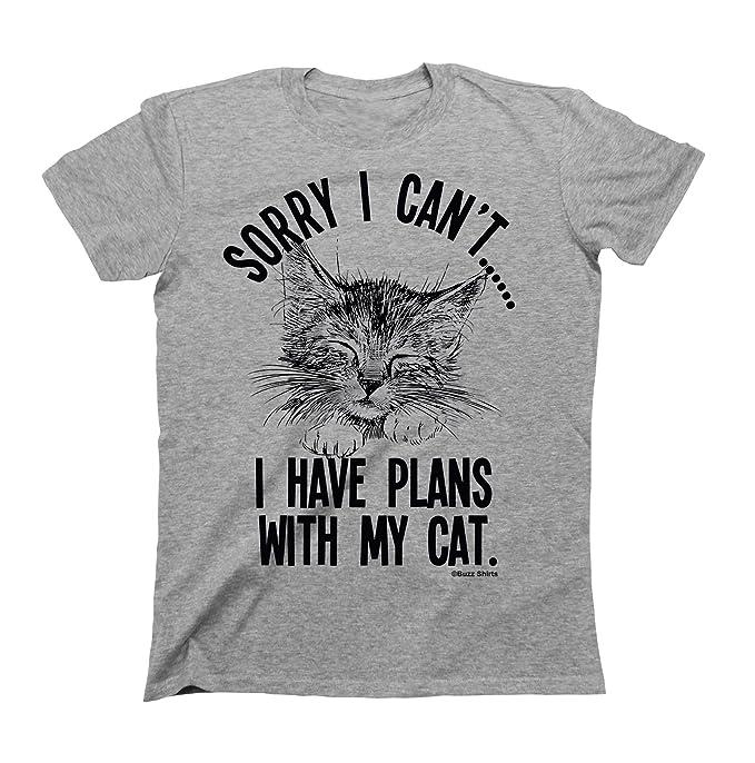 e4fa1e3c13b Unisex Cat T-Shirt - Sorry I Can t... I Have Plans with My Cat  Amazon.co.uk   Clothing