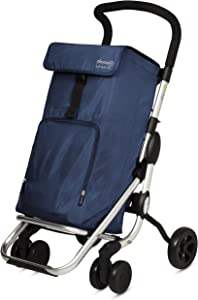 Playmarket Playcare Folding Shopping Cart with Swivel Wheels, Navy
