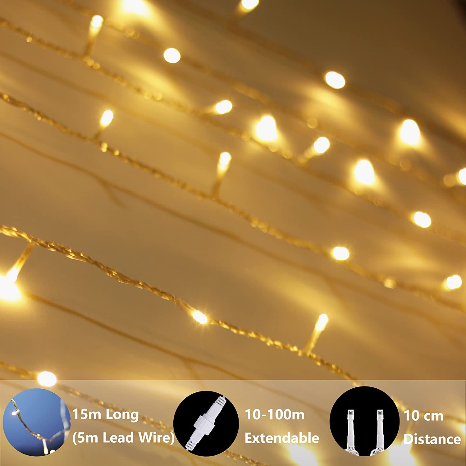 Connectable Perfect for Indoor and Outdoor use with 31V Low Voltage Transformer LED String Lights Full Pack 49Ft 100 LED Warm White Lights with Timer Plug in Fairy Lights Waterproof