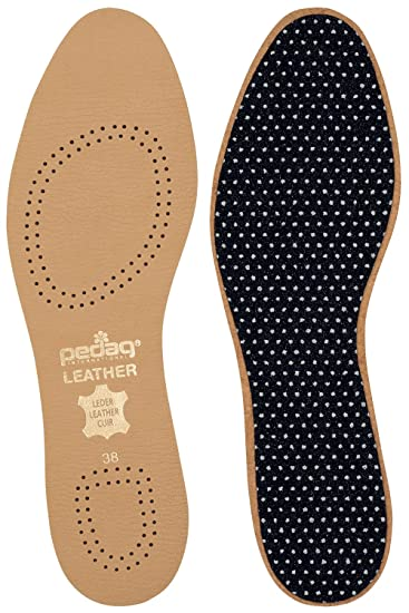 Pedag 110 Flat Leather Insole with Effective Active Carbon Filter for Odor Control, Tan,