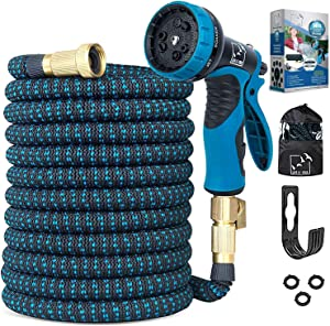 Expandable Garden Hose 50 Ft, Upgraded Extra Strength No-Kink, Lightweight Durable Flexible Expanding Water Hose Pipe, 9 Function Spray Nozzle, 3/4 Solid Brass Connectors, Holder, Storage Bag