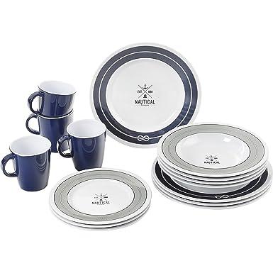 Brunner Nautical Dinner Service Melamine Set (16 Pieces) (One Size) (Blue  sc 1 st  Amazon UK & Brunner Nautical Dinner Service Melamine Set (16 Pieces) (One Size ...