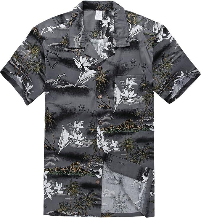 Palm Wave Young Adult Boy Hawaiian Aloha Luau Shirt in White Map and Surfer