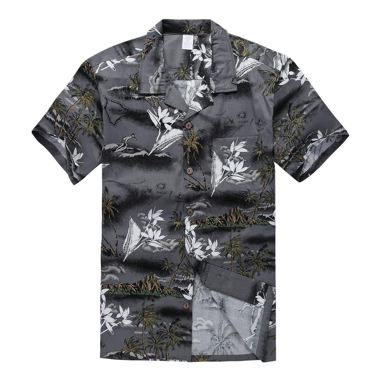 Young Adult Boy Hawaiian Aloha Luau Shirt in Gray Map and Surfer Palm Wave 049106