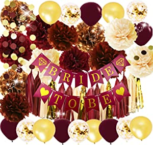 Bridal Shower Decorations Wine Burgundy Champagne Gold/Big Size Tissue Pom Pom Maroon Gold Balloons Bride to Be Banner for Engagement, Bachelorette Party Burgundy Fall Wedding Decorations