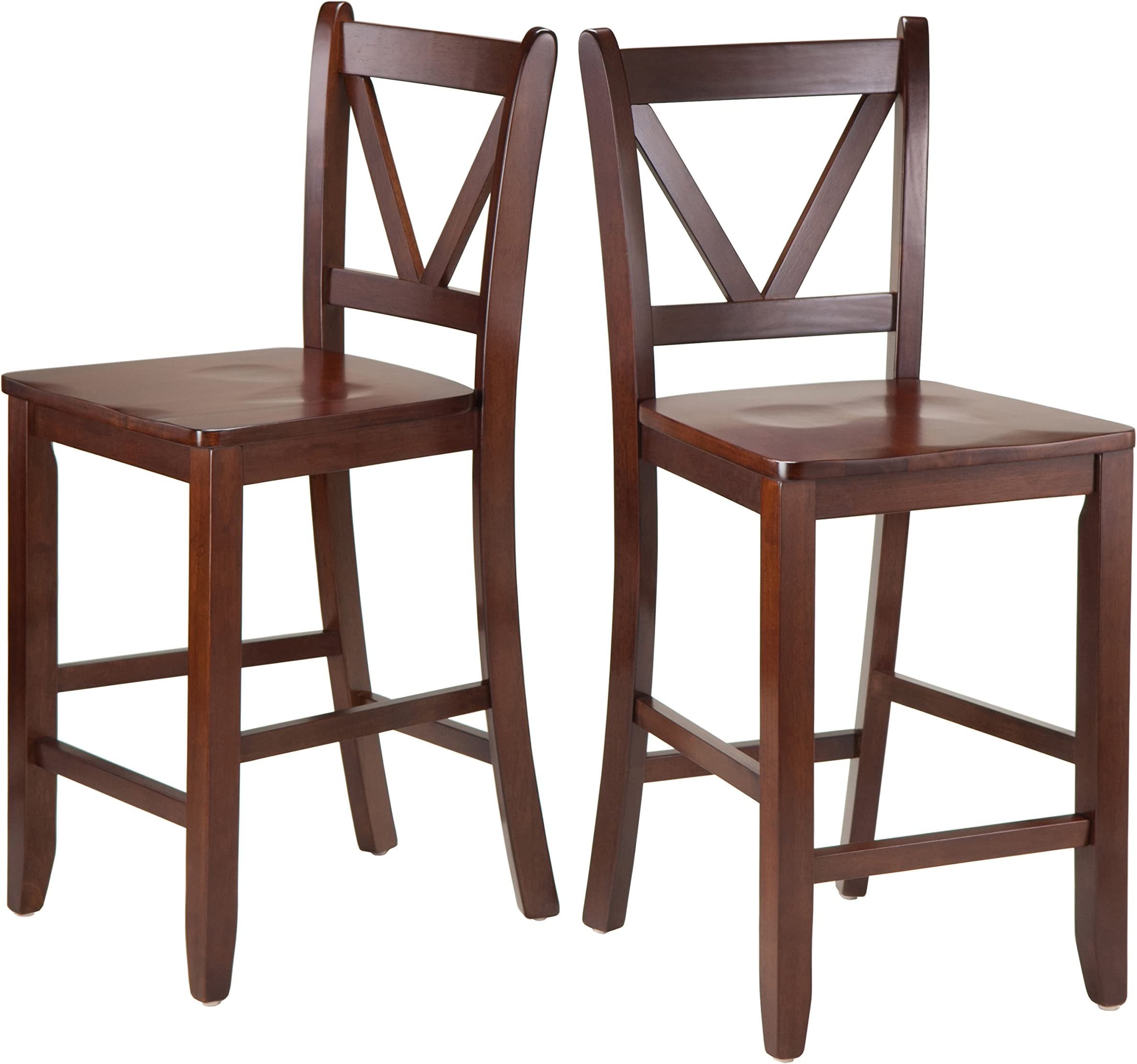 Winsome Victor 2-Piece V-Back Counter Stools 24-Inch Brown  sc 1 st  Amazon.com : swivel counter stools with backs - islam-shia.org