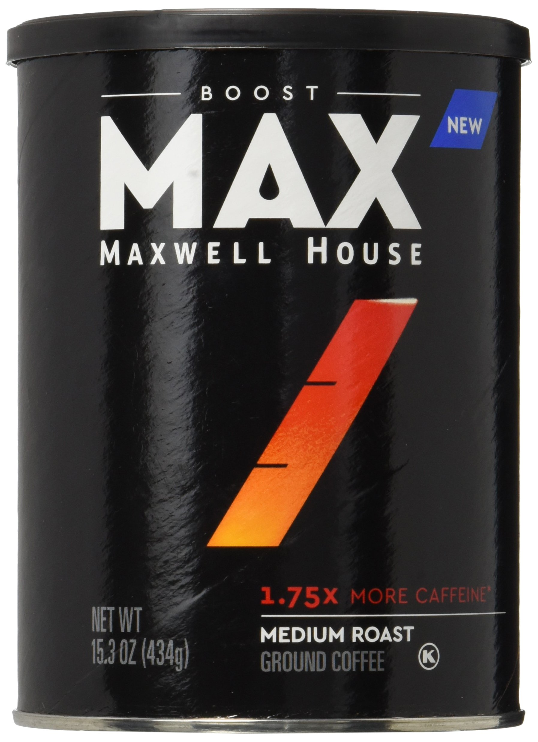 MAX by Maxwell House Boost Roast & Ground Coffee 1.75x Caffeine (13.5 oz Tin, Pack of 6)