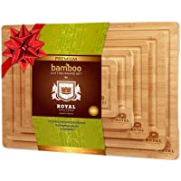 Organic Bamboo Cutting Board with Juice Groove (5-Piece Set) - Best Kitchen Chopping Board for Meat (Butcher Block) Cheese and Vegetables | Anti Microbial Heavy Duty Serving Tray w/Handles (5-Piece)
