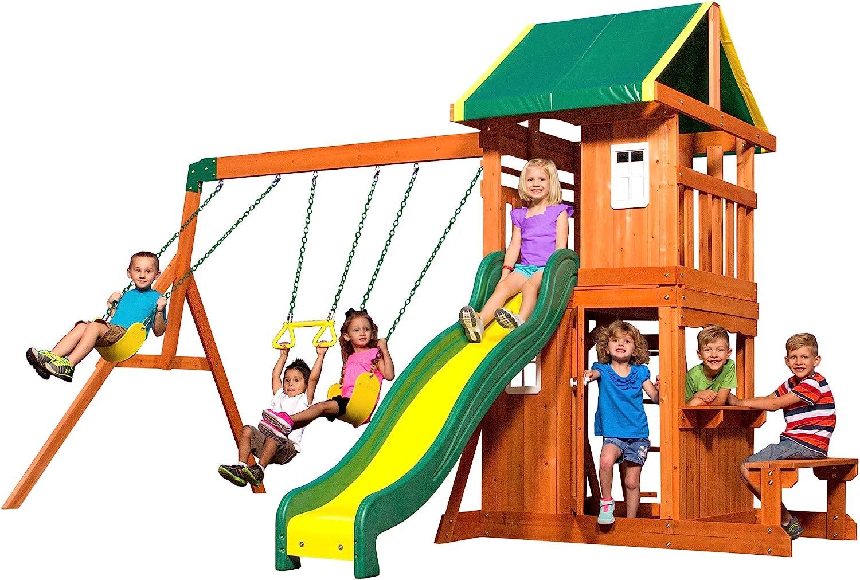 Amazon Com Backyard Discovery Oakmont All Cedar Wood Playset Swing Set Toys Games