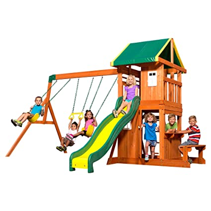 Amazon Com Backyard Discovery Oakmont All Cedar Wood Playset Swing