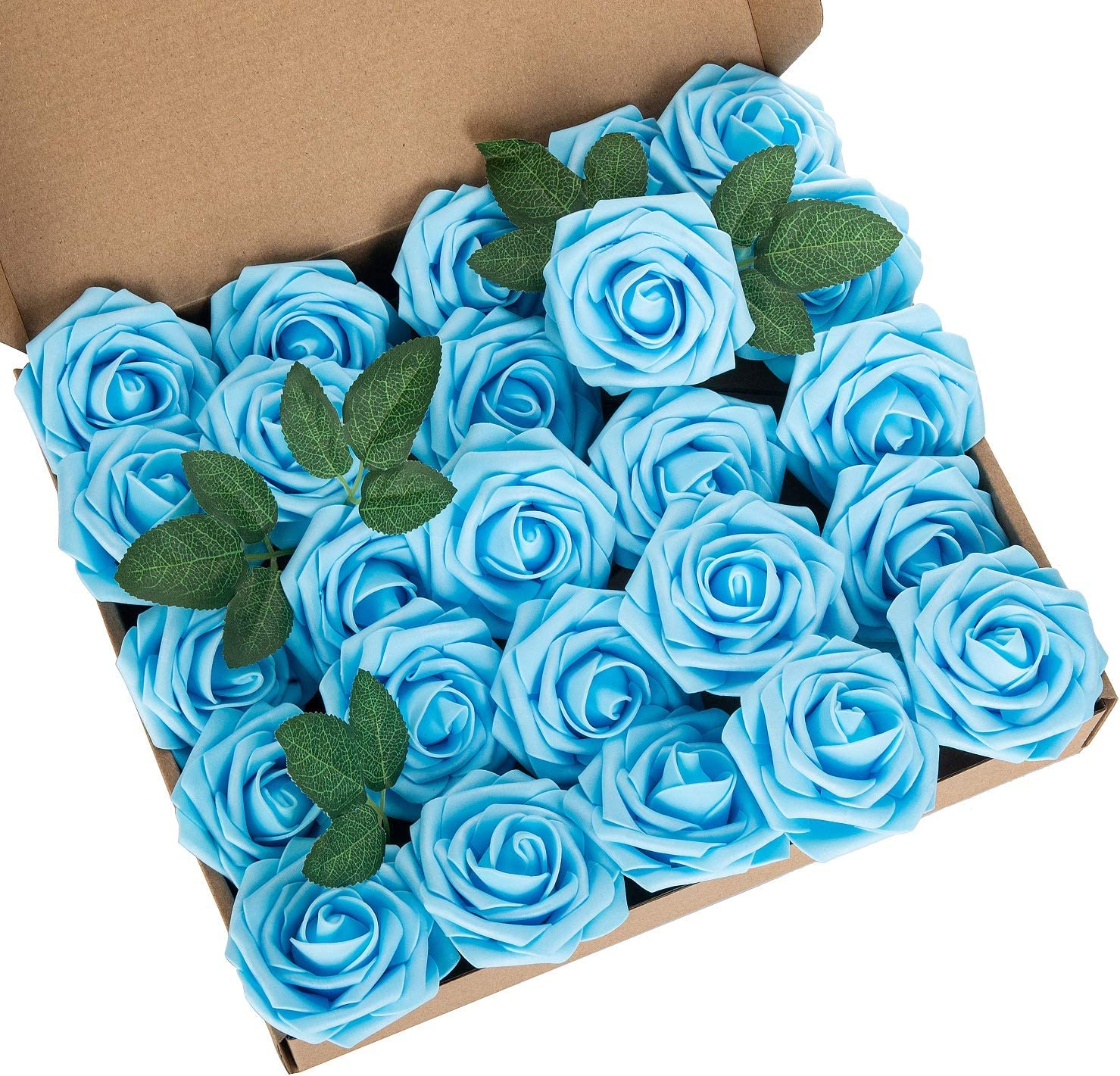 LuLuHouse 25pcs Artificial Flower Foam Rose Blue Real Touch Roses Flower Heads with Stem for DIY Wedding Bouquets Centerpieces Arrangements Party Baby Shower Home Decor (25, Blue)