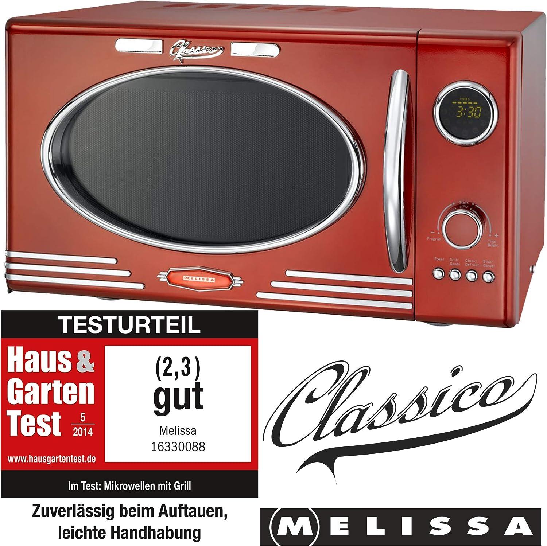 Melissa 16330088 Horno Microondas color Rojo 25 litros - 900W - 1000W con 12 programas